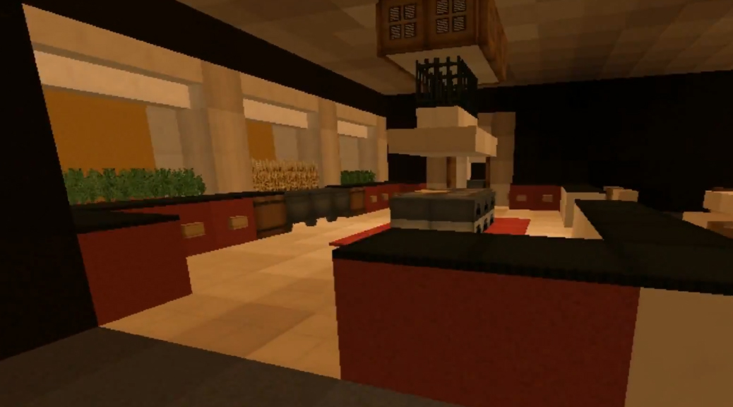 Minecraft builds modern style house with surprise dining for Minecraft dining room designs